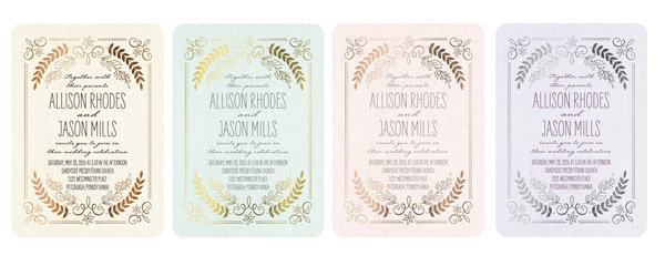 wedding paper divas rustic wreaths pastel mint pink lilac invitations gold foil stamping