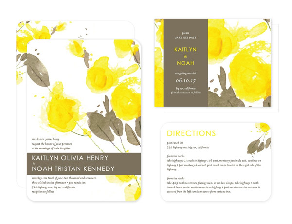 Summer Crush Fresh Floral Wedding Theme for Summer – Spring or Summer Theme Invitation Cards