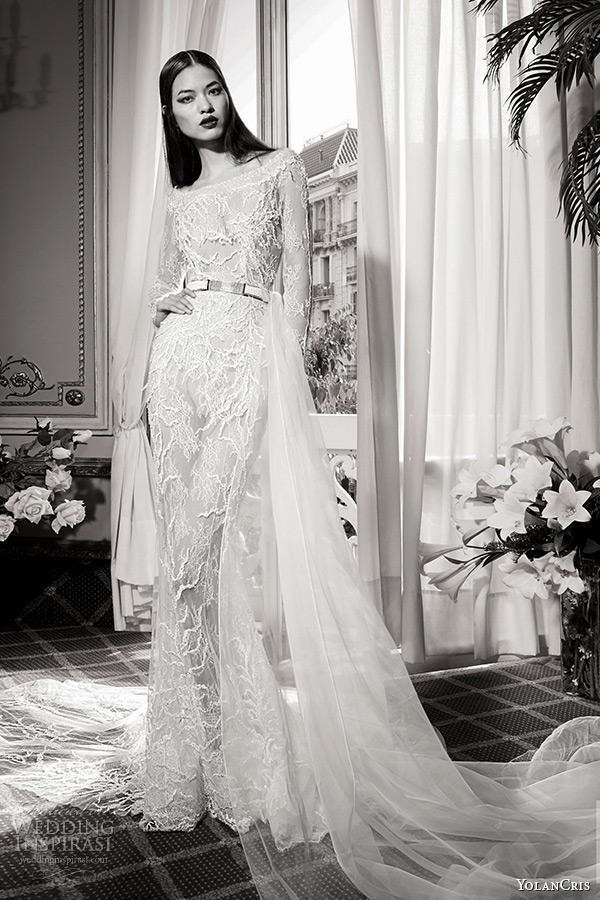 yolancris bridal fall 2016 haute couture wedding dress long sleeves bateau neckline mermaid gown with belt opalo