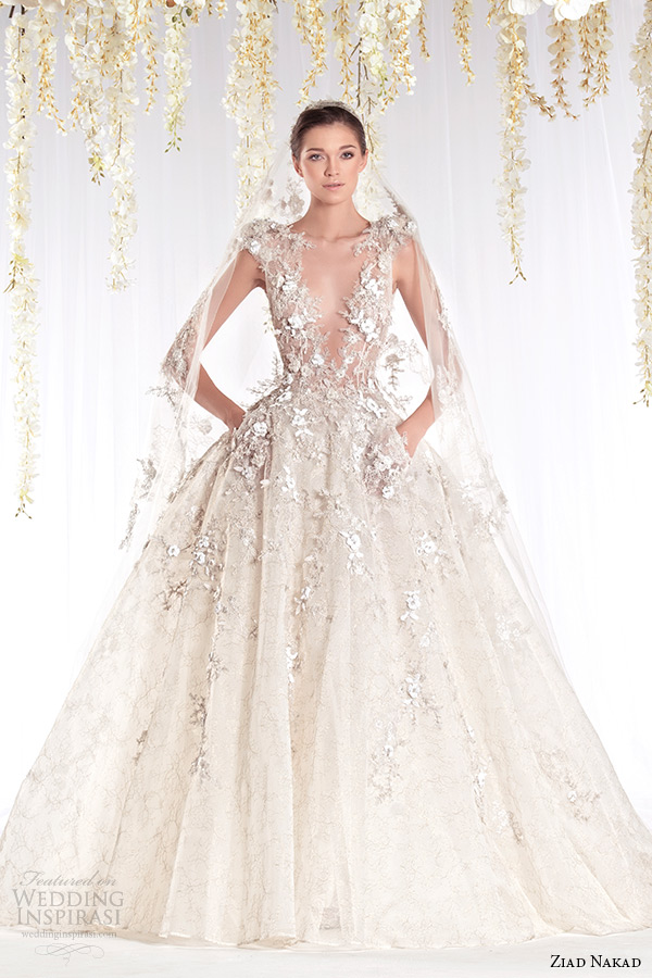 ziad nakad 2015 haute couture bridal wedding dress leaf applique plunging v neckline ball gown with pockets