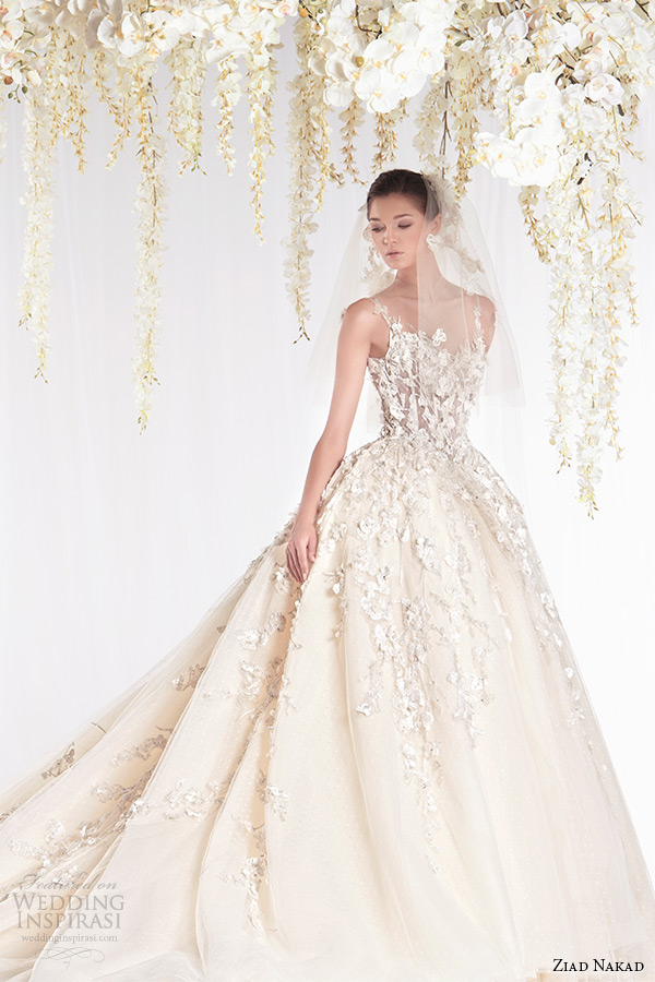 ziad nakad 2015 haute couture bridal wedding dress leaf applique sleeveless with strap ball gown