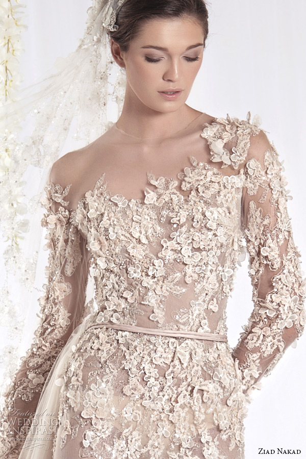 ziad nakad 2015 haute couture bridal wedding dress one shoulder long sleeves sheer sheath gown with leaf flora applique closeup