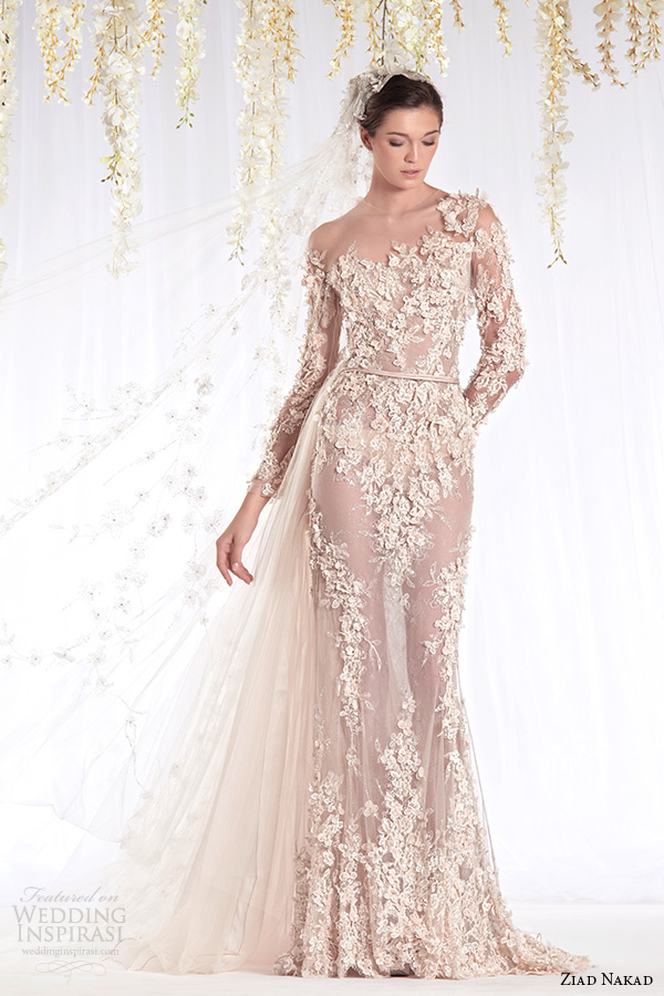 ziad nakad 2015 haute couture bridal wedding dress one shoulder long sleeves sheer sheath gown with leaf flora applique