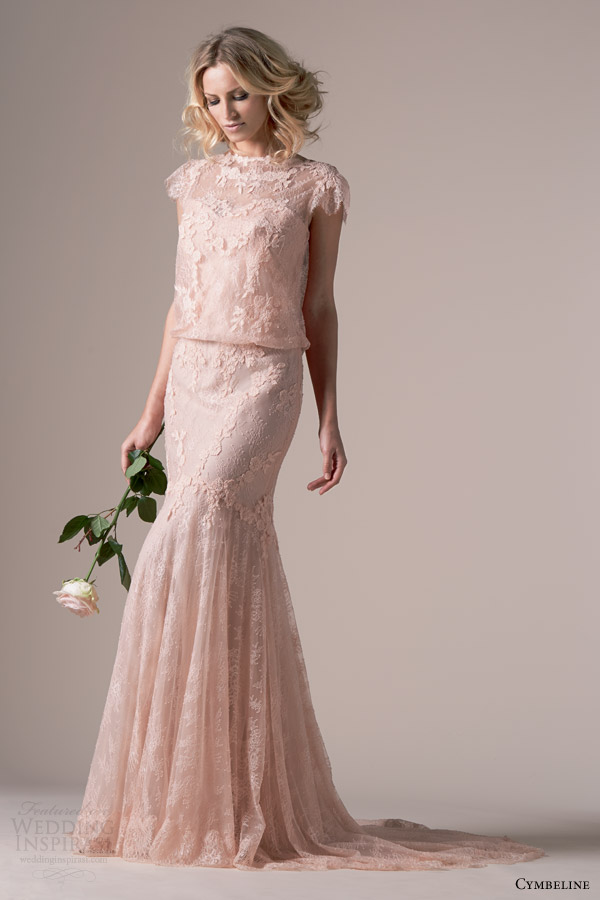 Cymbeline Bridal 2015 Iphigenie Rose Pink Lace Wedding Dress Blouson Scalloped Cap Sleeve Bodice High Neckline