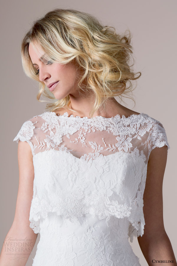 Cymbeline Bridal 2015 Irvina Drop Waist Ball Gown Wedding Dress Crop Top Cap Sleeve Lace Topper Close Up Bodice