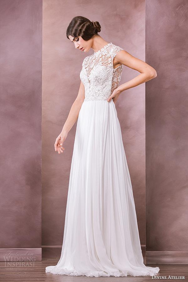 divine atelier wedding dress 2015 bridal cap sleeve bateau neckline floral leaf lace top a line gown petra
