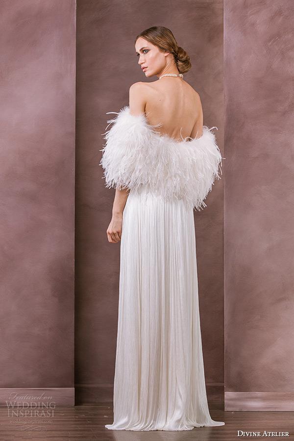 divine atelier wedding dress 2015 bridal feather bolero adora back