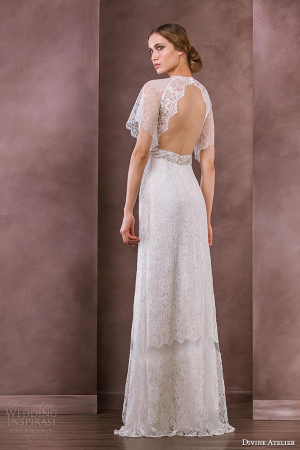 divine atelier wedding dress 2015 bridal flutter lace sleeves jewel neckline jeweled belt column gown serena back