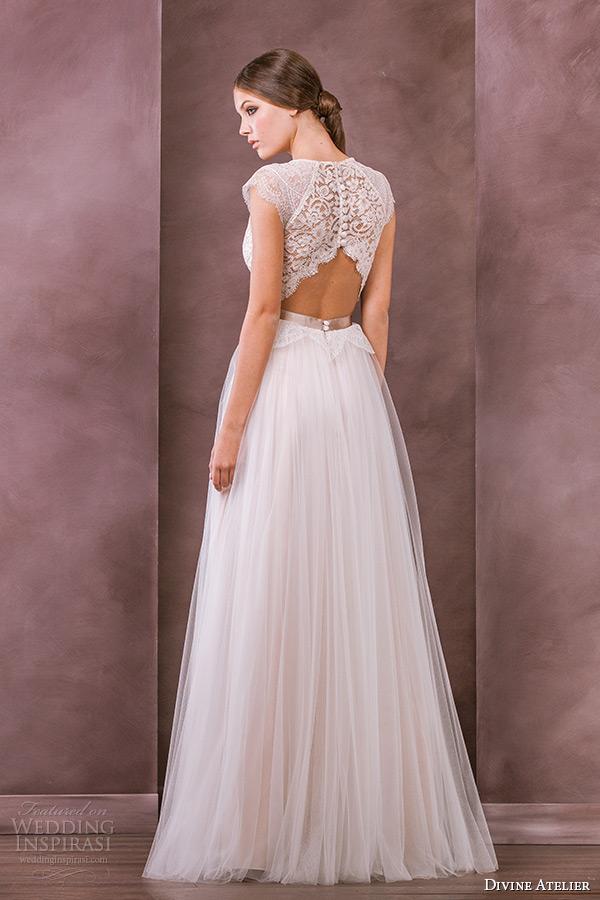 divine atelier wedding dress 2015 bridal jewel neckline cap sleeves plunging neckline tullet a line gown antonia back