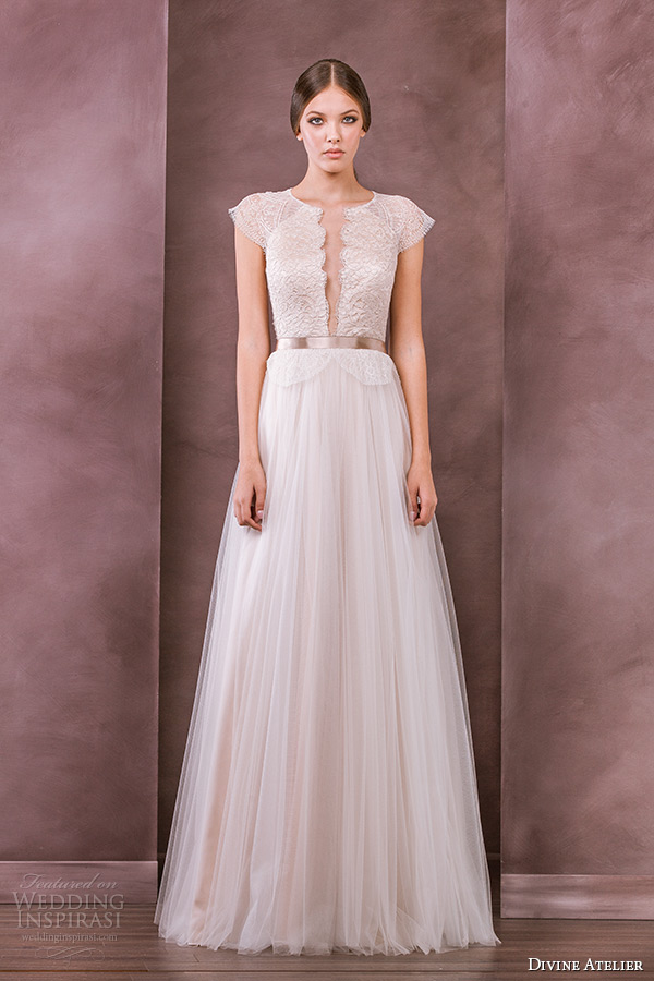 divine atelier wedding dress 2015 bridal jewel neckline cap sleeves plunging neckline tullet a line gown antonia