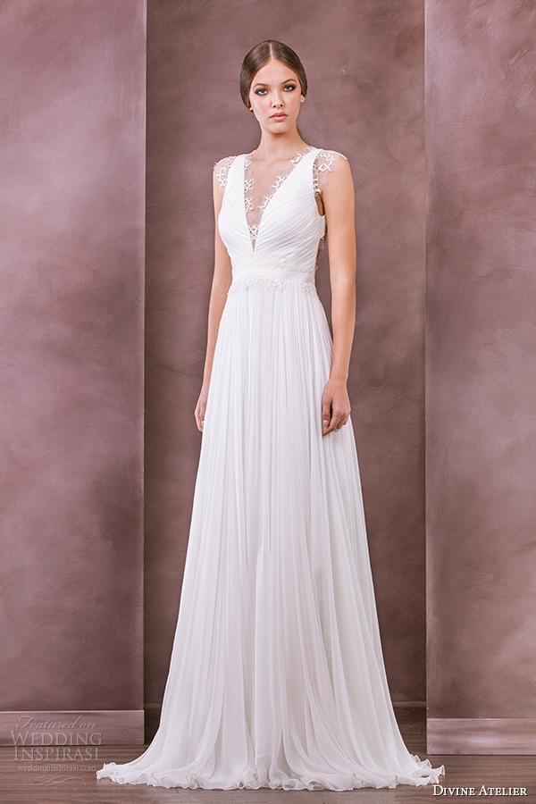 divine atelier wedding dress 2015 bridal plunging v neckline a line gown chloe