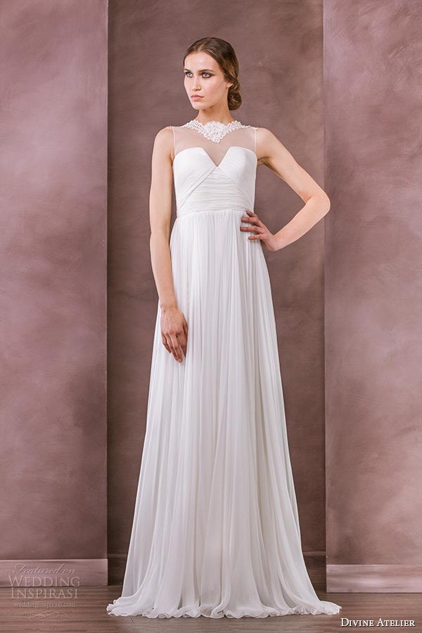 divine atelier wedding dress 2015 bridal sheer jewel neckline empire gown idilia