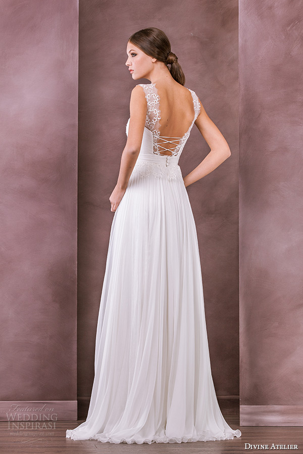 divine atelier wedding dress 2015 bridal sheer scoop top a line gown iarina back