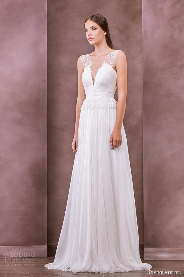 divine atelier wedding dress 2015 bridal sheer scoop top a line gown iarina