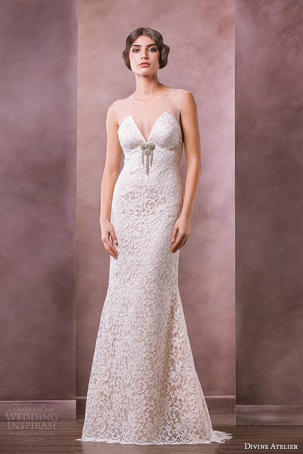 divine atelier wedding dress 2015 bridal sheer top applique sheer jewel top sleeveless filigree embroidery sheath gown dolce