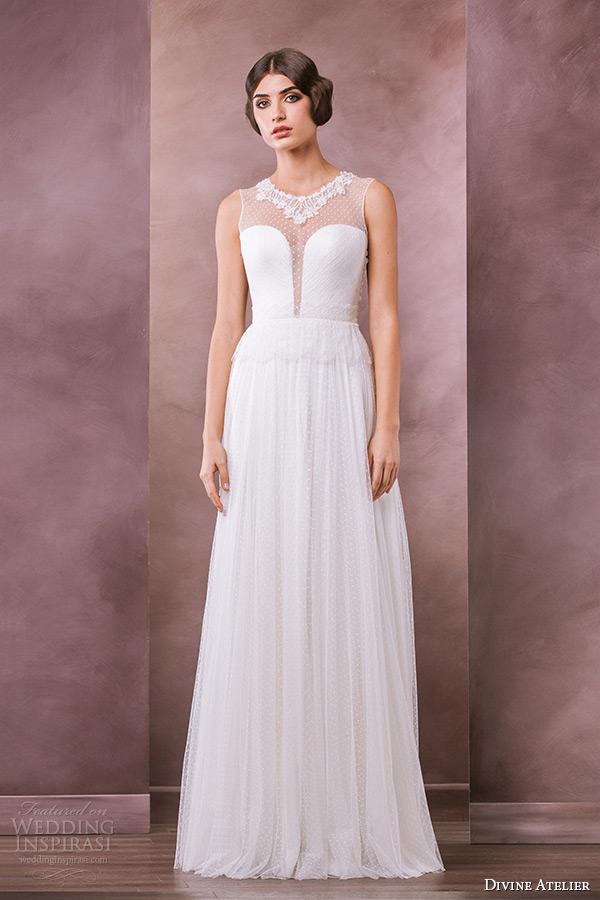 divine atelier wedding dress 2015 bridal sleeveless jewel neckline lace plunging neckline a line gown sonora