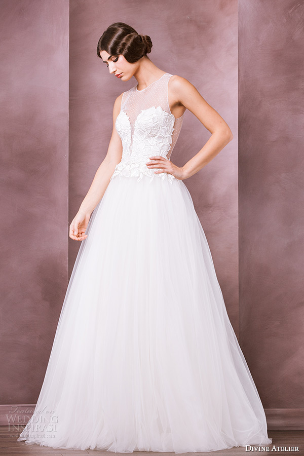 divine atelier wedding dress 2015 bridal sleeveless  jewel sheer lace sweetheart plunging neckline a line gown amira