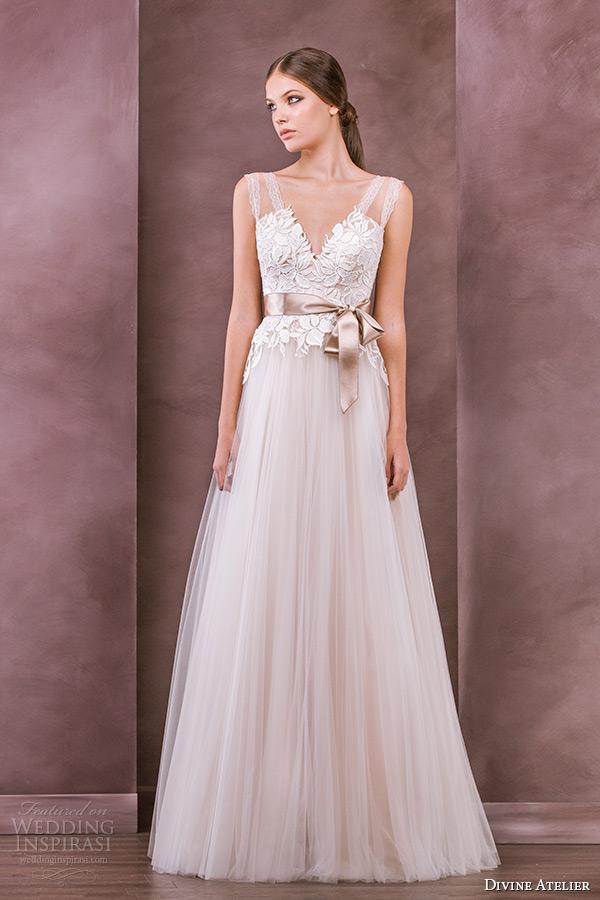 divine atelier wedding dress 2015 bridal sleeveless strap v neckline embroidery bodice tullet a line gown inna