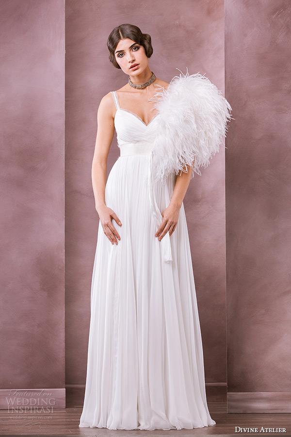 divine atelier wedding dress 2015 bridal sweetheart neckline spagetti strap empire gown ramia