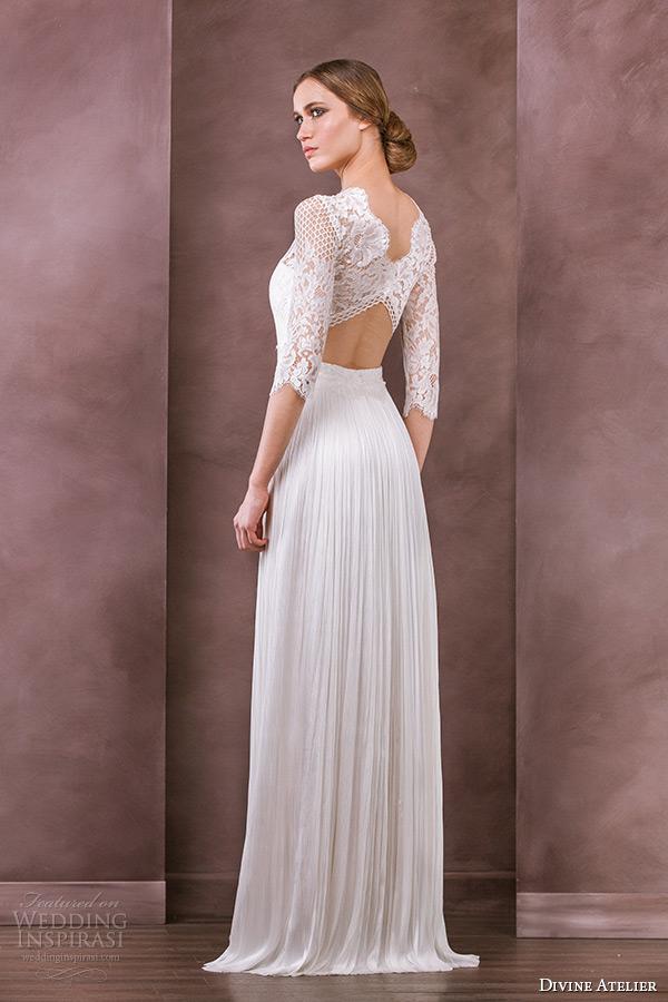 1aec46d497fe divine atelier wedding dress 2015 bridal three quarter 3 4 sleeves bateau  neckline lace top column