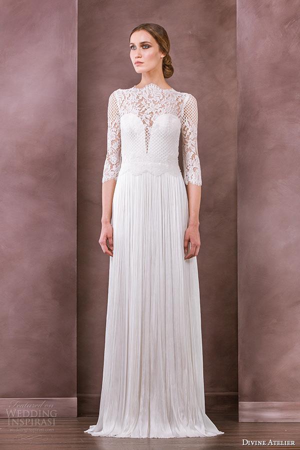divine atelier wedding dress 2015 bridal three quarter 3 4 sleeves bateau neckline lace top column gown iman