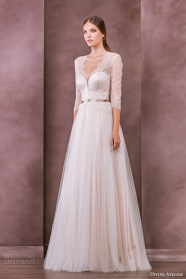 Divine atelier 2015 wedding dresses nostalgia bridal for 3 4 sleeve wedding guest dress