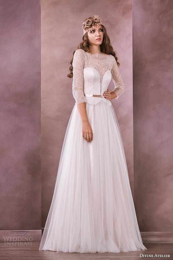 3249e7c9ecfd divine atelier wedding dress 2015 bridal three quarter sleeves sheer boat  neckline aline briana gown