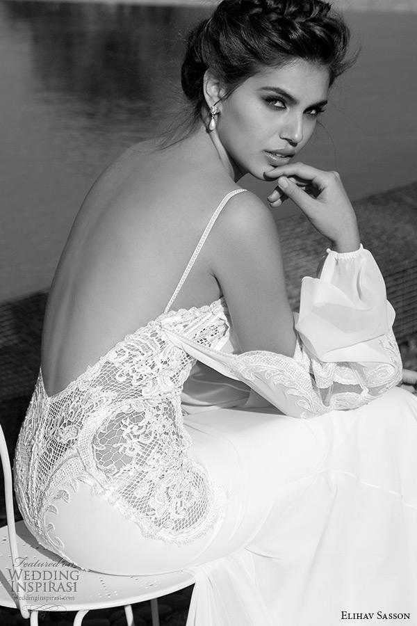 dd8a93cc52fd elihav sasson wedding dress 2015 attached long sleeves lace low cut back  sheath bridal gown back