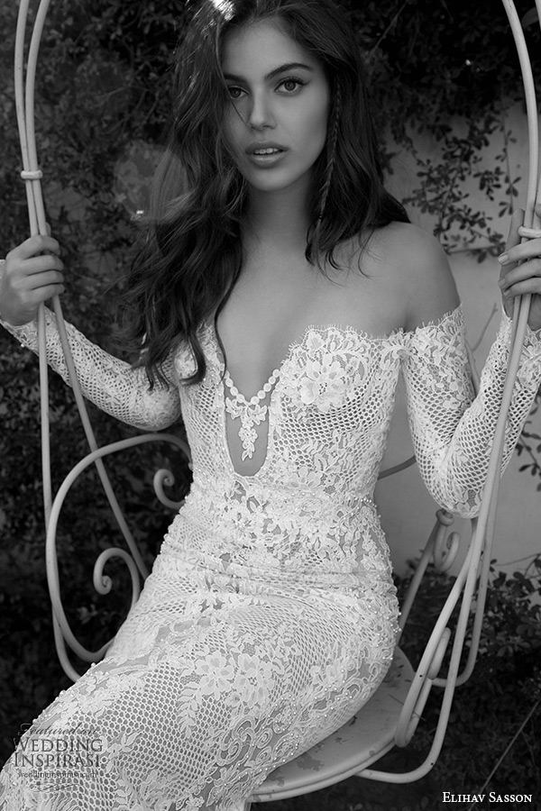 elihav sasson wedding dress 2015 off the shoulder long sleeves plunging neckline sexy lace sheath bridal gown zoom