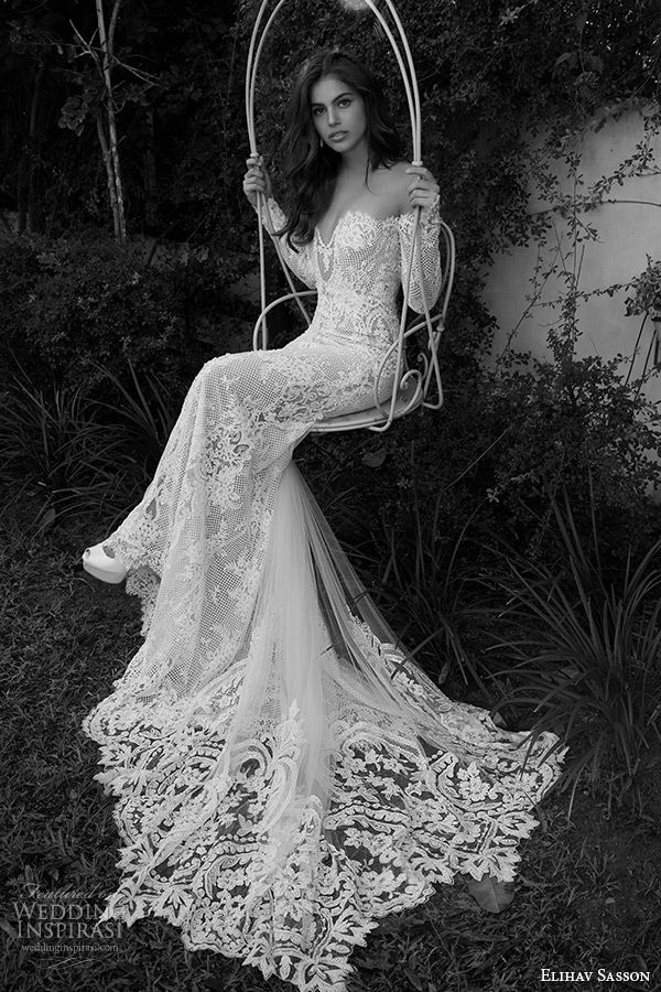 elihav sasson wedding dress 2015 off the shoulder long sleeves ...