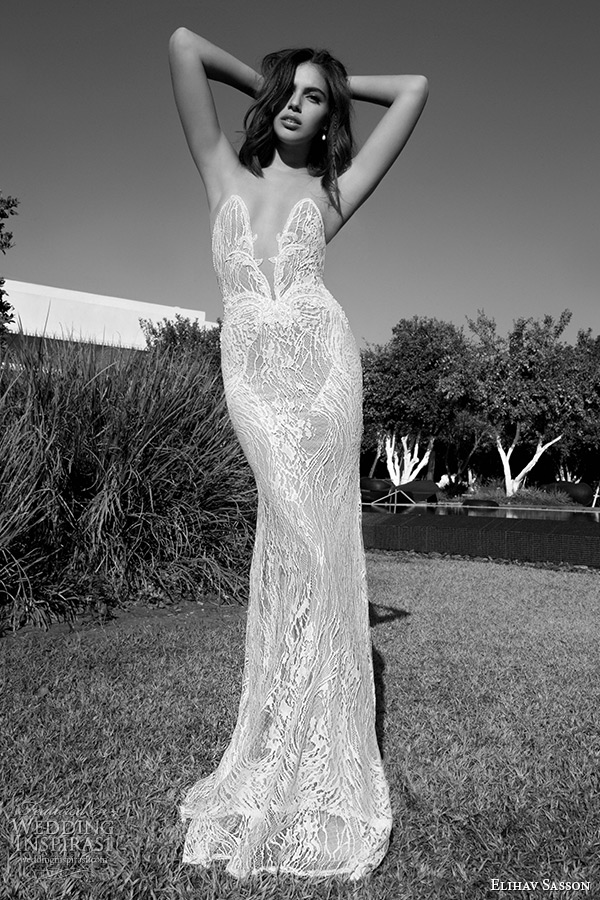 Elihav sasson 2015 wedding dresses wedding inspirasi for Plunge neck wedding dress