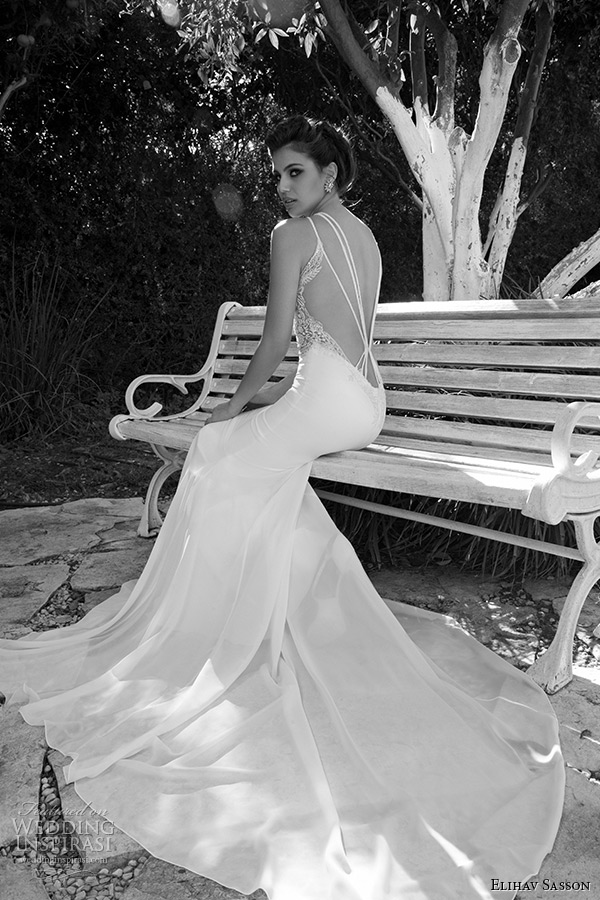 Elihav sasson wedding dress 2015 ultra low back lace embroidery elihav sasson wedding dress 2015 ultra low back lace embroidery sheath bridal gown back junglespirit Images