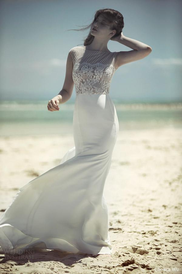george wu bridal 2015 wulfila collection azurite wedding dress cap sleeve lace bodice