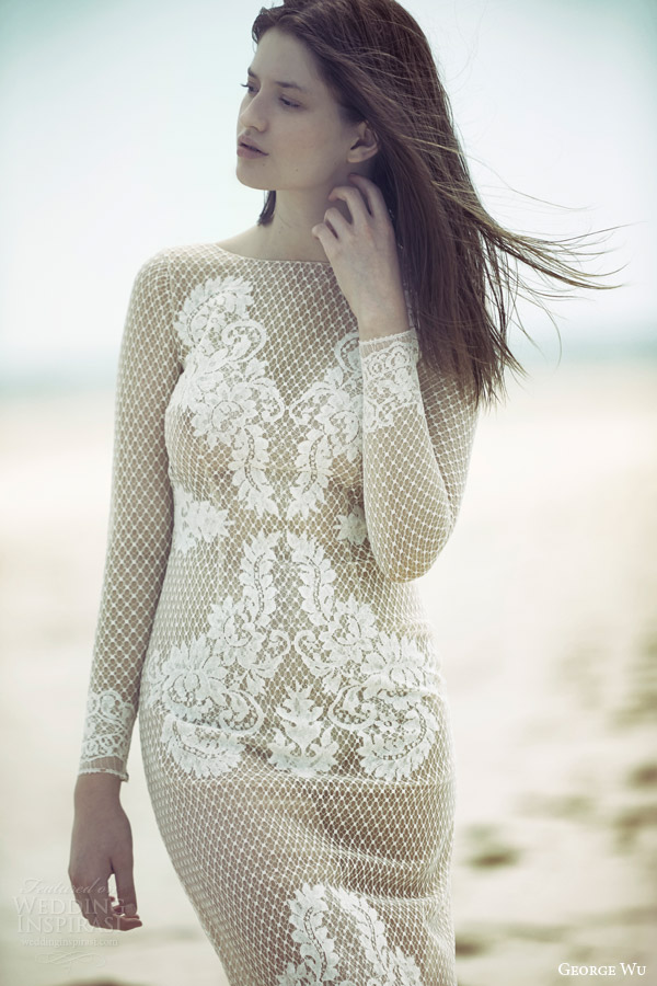 george wu bridal 2015 wulfila message collection deity long sleeeve wedding dress nude base