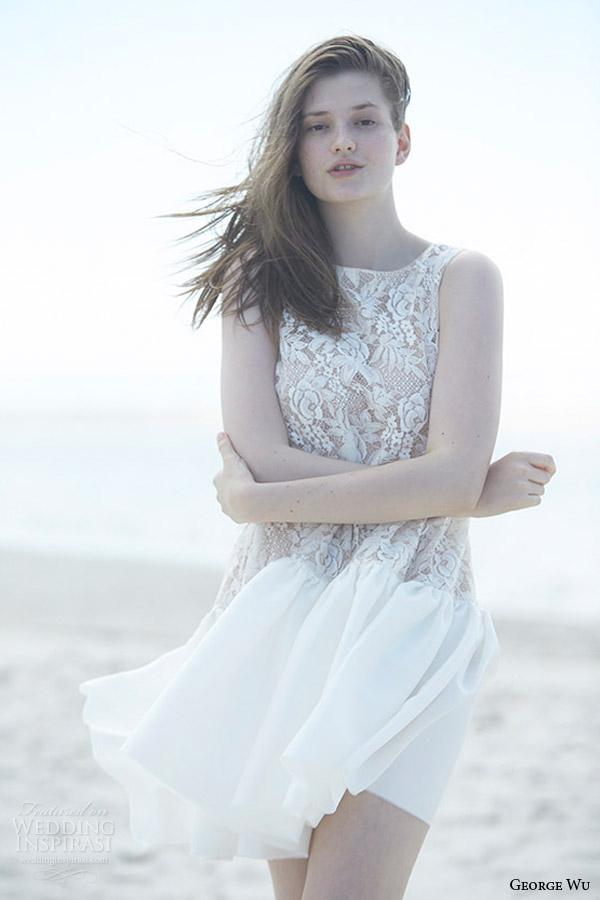 george wu bridal 2015 wulfilas message collection adalia sleevelesss short wedding dress