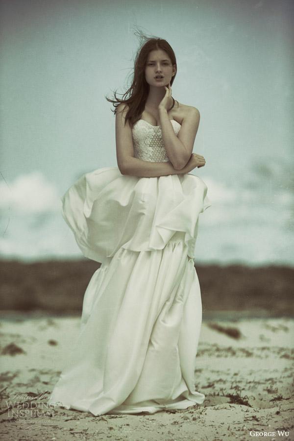 george wu bridal 2015 wulfilas message collection akasha strapless wedding dress tiered skirt