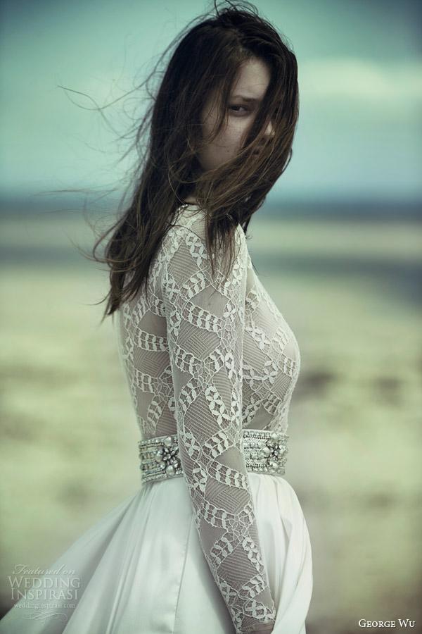george wu bridal 2015 wulfilas message lunar long sleeve wedding dress belt