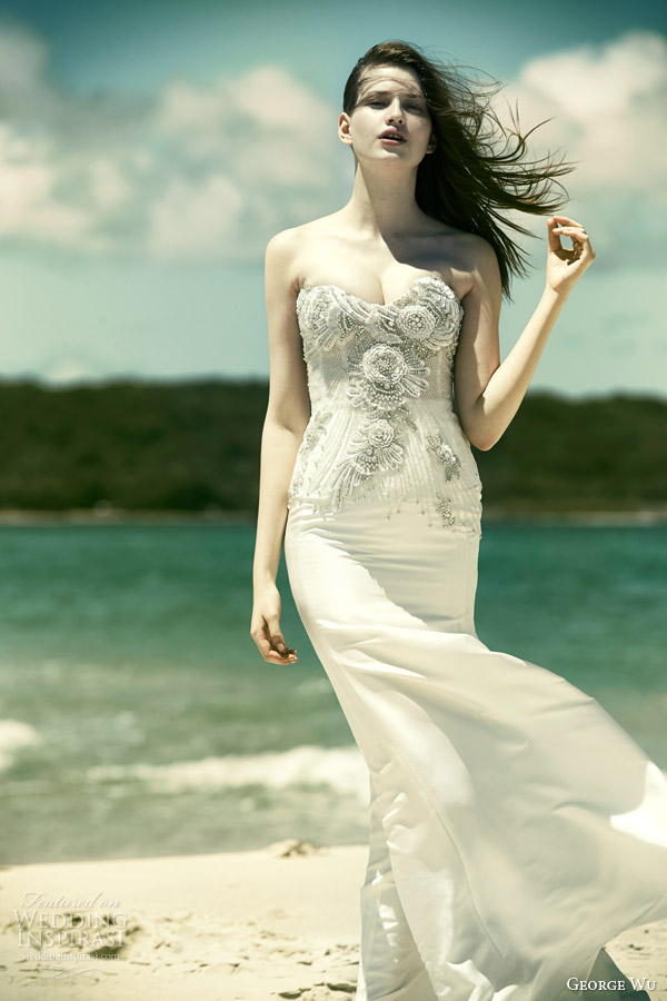 george wu bridal 2015 wulfilas message moonstone strapless wedding dress beaded embellished sweetheart bodice