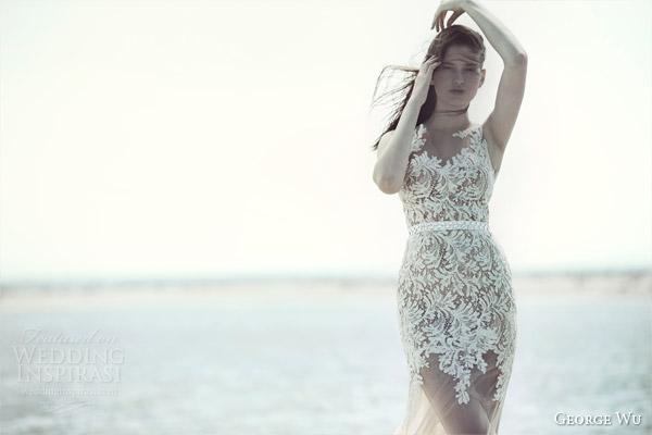 george wu bridal 2015 wulfilas message summerland sleeveless mermaid wedding dress nude tulle base lace bodice
