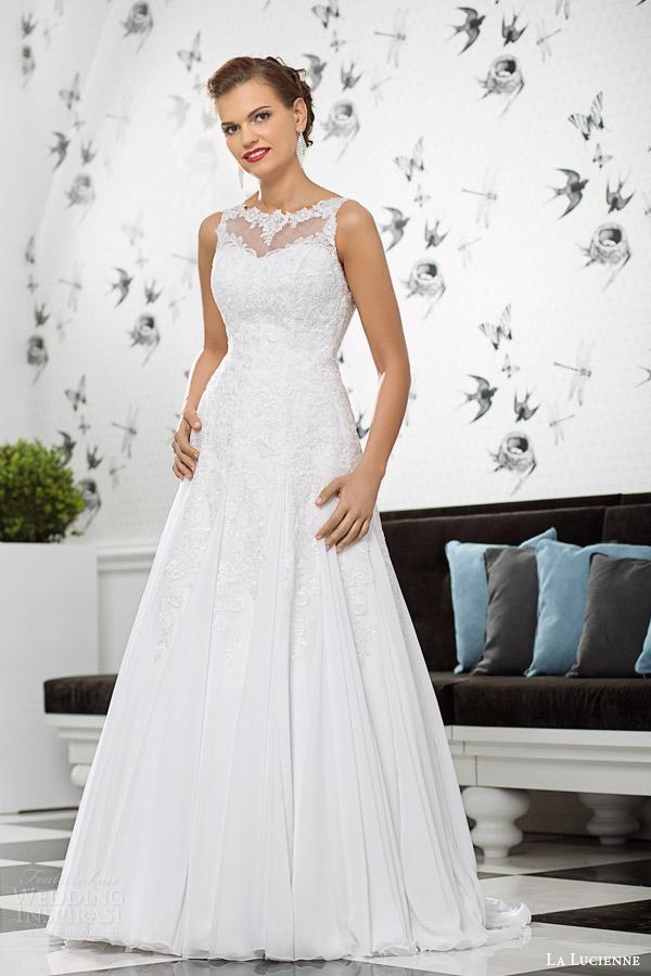 La Lucienne Bridal 2017 Lolite Sleeveless Wedding Dress A Line Skirt Illusion Neckline