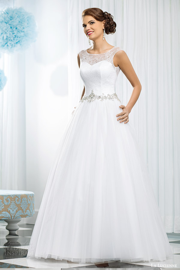 La lucienne 2015 wedding dresses luxury bridal collection la lucienne bridal 2015 opal sleeveless ball gown wedding dress embellished waist illusion straps junglespirit Gallery