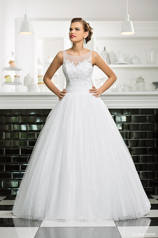 La lucienne 2015 wedding dresses luxury bridal collection la lucienne bridal 2015 zirconia sleeveless ball gown wedding dress illusion neckline straps junglespirit