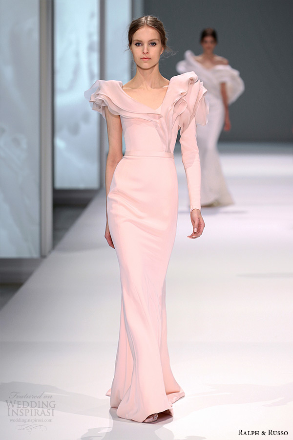 ralph and russo spring 2015 couture collection blush off the shoulder petal collar sheath dress
