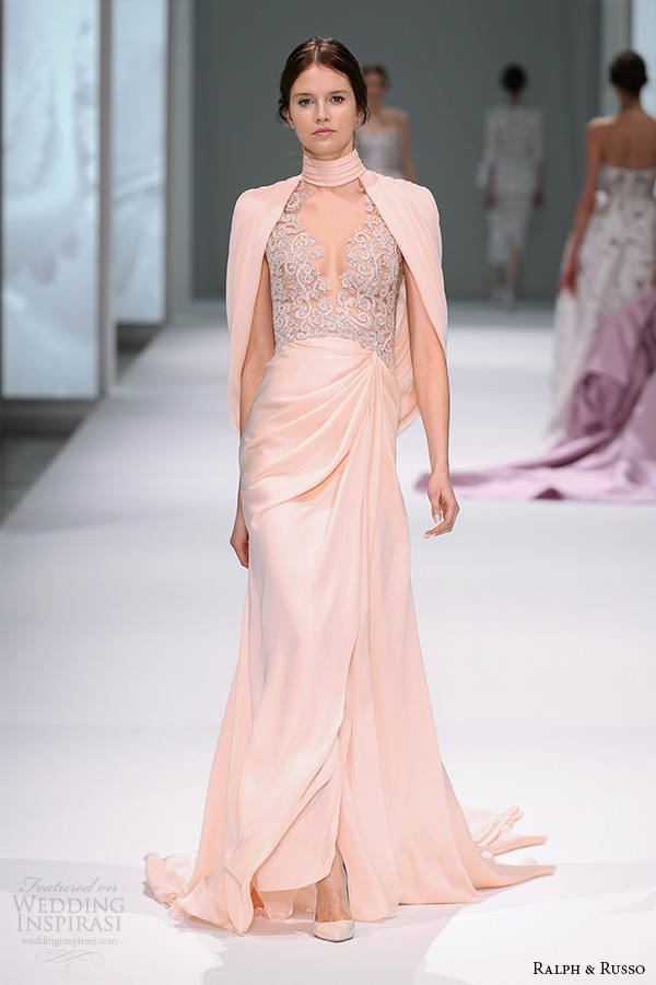 ralph and russo spring 2015 couture collection high neckline drape over shoulder floor length peach dress with filigree embroidery bodice