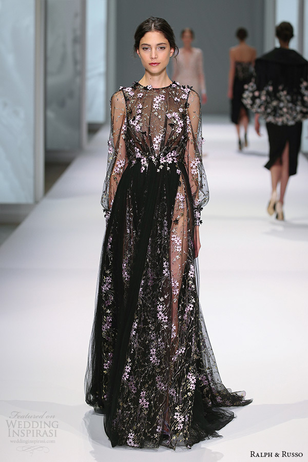 ralph and russo spring 2015 couture collection illusion sleeves jewel neckline floral embroidery black a line dress
