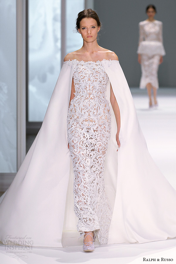 Ralph russo spring 2015 couture collection wedding for Wedding dress with a cape