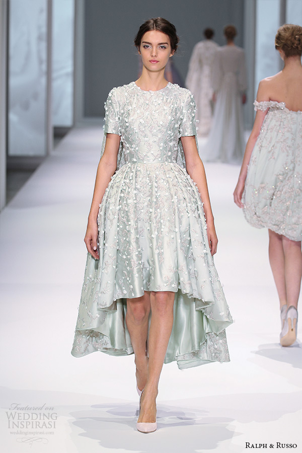 ralph and russo spring 2015 couture collection short sleeve jewel neckline mullet green short dress with floral applique