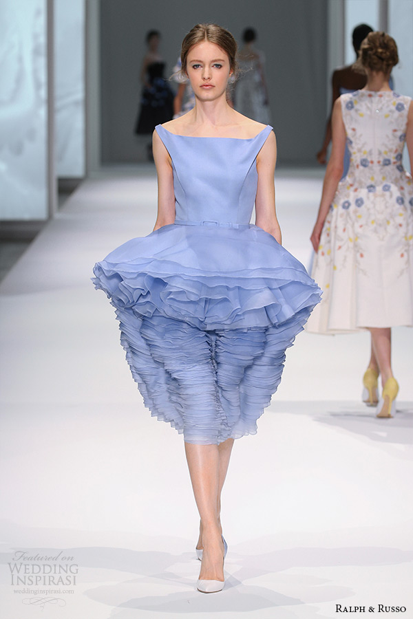 ralph and russo spring 2015 couture collection square neckline peplum ruffle short tea length blue dress