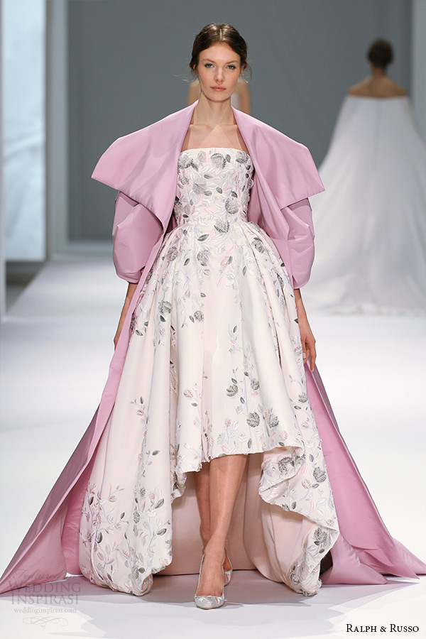 ralph and russo spring 2015 couture collection straight across neckline ball gown floral embroidery with pink cape