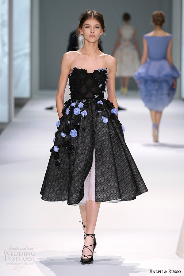 ralph and russo spring 2015 couture collection strapless floral applique black tea length short dress